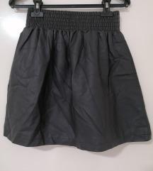 H&M siva kozna suknja sa gumom u pojasu S