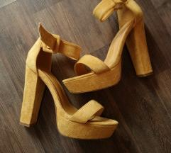 Oker sandale prevrnuta koža