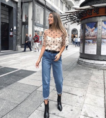 Zara top organca floral puf pastel