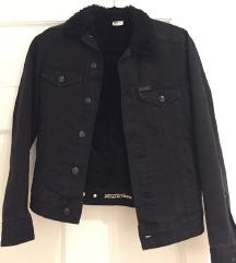 H&m denim crna jakna sa teddy krznom NOVO