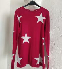 Pink crvenkasti dzemper sa zvezdicama