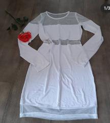 Nova bela haljina, viskoza, M vel,  popust