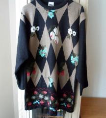 Crni džemper tunika sa šarama 42/44