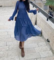 Plavo ljubicasta leprsava haljina