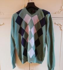 Muški džemper zelene boje, romboid šara