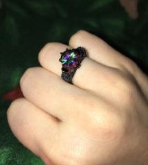 SNIZENJE Prsten vel 6 kristal u duginim bojama