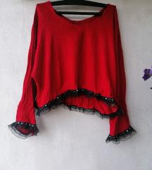Retro dzemper-bluza vuna i viskoza XL