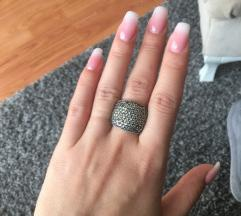 Srebrni masivan prsten, 18mm, zig 925