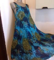 Plavkasta trapezasta haljina L/XL