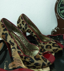 Sandale kodirane 100%prirodno krzno leoparda