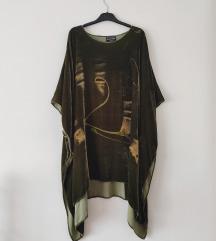 RezzGRETHE ROLLE pliš i svila dizajnerska tunika