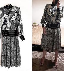 Vintage plisirana cvetna haljina