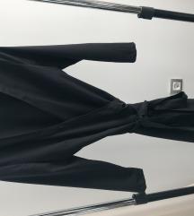 Crna haljina na preklop šivena NOVO