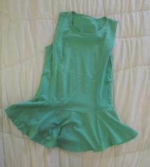 523. Peplum pamučna majica zelena, bez rukava