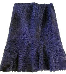 Plavkasto lila suknja od pravog krzna