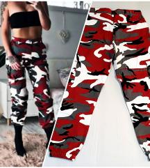 Crveno-crno-sivo-bele maskirne pantalone