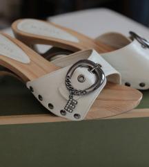 Bele drvene papuče/nanule od eko kože