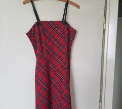 Karirana haljinica sa koznim bretelama