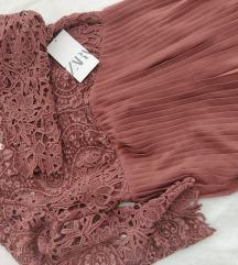 Zara haljina, plise i čipka, M