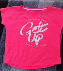 Fluorescentno roze sportska majica crop top
