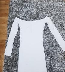 Pamucna bela haljina sa golim ramenima