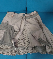 Golden Cut patchwork maslinasta suknja