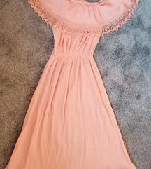 Svetlo Roza haljinica sa spustenim ramenima