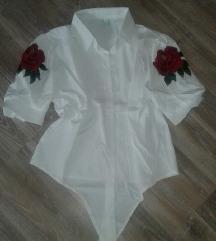 Nova bela košulja sa crvenim cvetom M/L ve