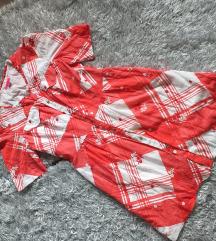 Crveno bela haljina na preklop