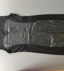 H&M kožna crna haljina