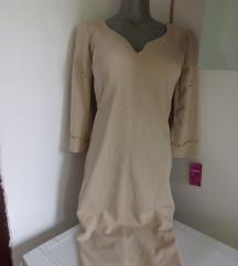 Nova Moda krem haljina sa zutim biserima S