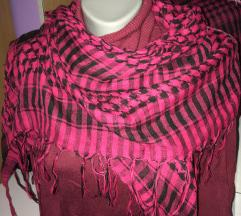 Ciklama/pink-crni veliki šal/marama