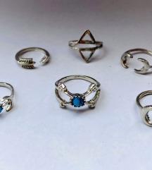 Set midi prstenova tirkizno srebrne boje