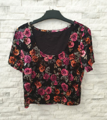 NOVA Crna cvetna plisana majic M/L