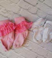 Čarapice za novorođenče sa čipkom