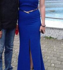 Kraljevsko plava dugacka haljina