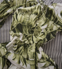 rezz HM balon haljina u zelenom printu lisca