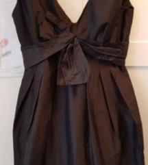 Crna koktel haljina tulip kroja svila