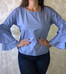 Plava košulja sa zvonastim rukavima