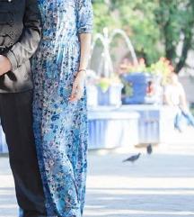 Duga plava haljina sa cvetnim dezenom