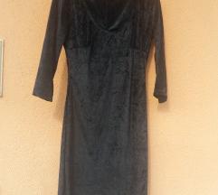 Crna mini haljina od plisa