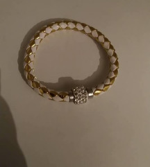 Zlatno bela narukvica sa cirkonima
