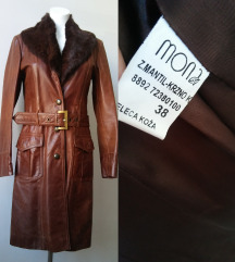 MONA ženska kožna jakna mantil sa prirodnim krznom