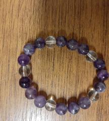 Narukvica - ametist - gorski kristal