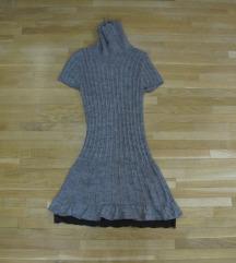 699. Braon pletena zimska haljina rolka, sa cipkom