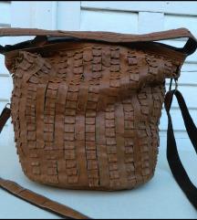 Prelepa velika braon torba od prave kože
