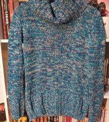 Plavi pleteni džemper