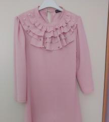 Haljina puder roza sa rukavima