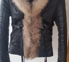 Kozna jakna sa krznom rakuna S