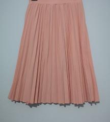 Nova puder roze plisirana suknja, S / M
